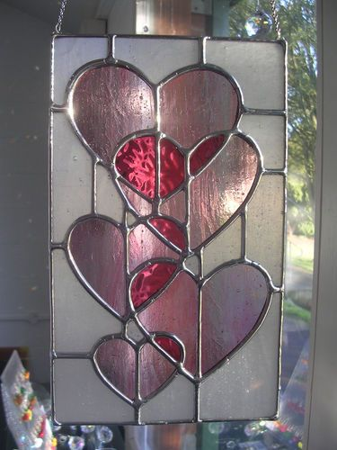 Sweet Hearts! Romantic & Pretty Pink Love Stained Glass Panel - pewtermoonsilver