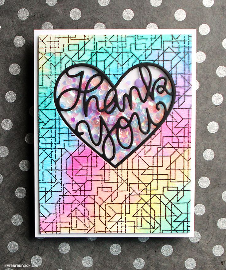 Such a Pretty shaker card by Kristina Werner using the Simon Says Stamp thank You Hearty Die.