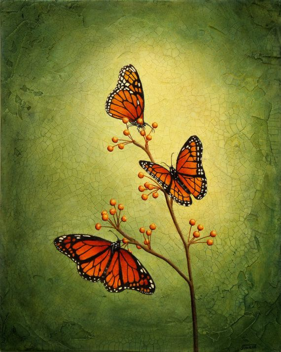 Original Acrylic Monarch Butterfly Painting Royal by SandyTweed, $575.00