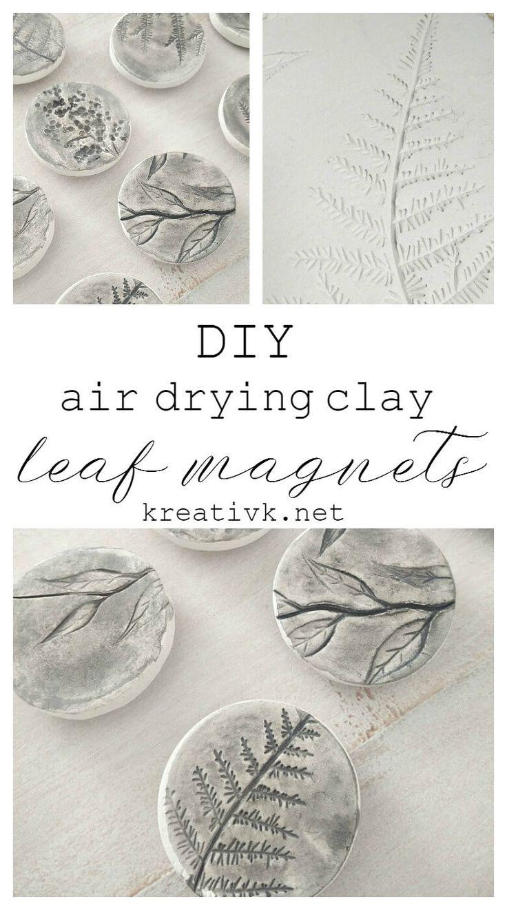 DIY lufttrocknende Lehm-Blatt-Magneten – Nordgefühl