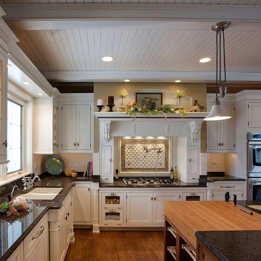 Love the white wood panel ceiling | Kitchen | Pinterest ...