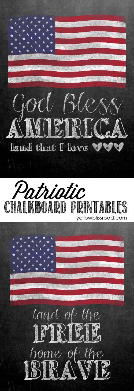 Free Patriotic Chalkboard Printables