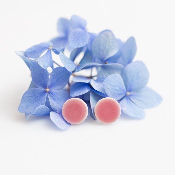 Pink stud earrings pastel earrings Ceramic stud earrings big 14mm earrings porcelain earrings sterling silver post Clay jewelry Zu Design