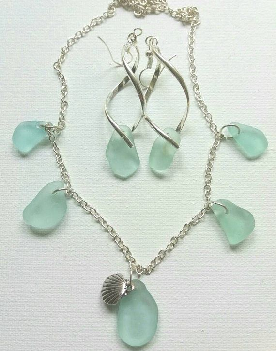 Sea Glass earring and necklace set blue sea glass jewelry set