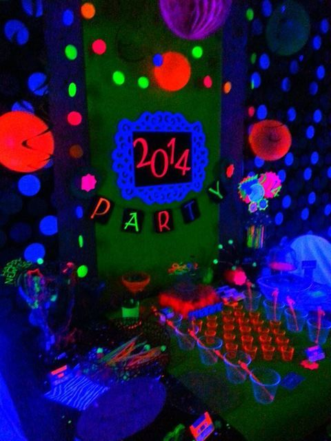 Neon New Years Black light party... Glowing, glow in the dark and uv reactive