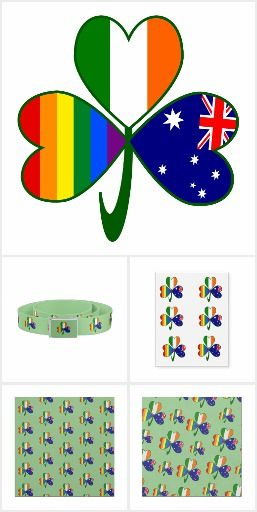 Australian Irish Gay Pride Shamrock -- a collection of items from Auntie Shoe  with a design featuring a shamrock with a different flag in each leaf. One for Ireland, one for Australia and one for Gay Pride Rainbow or LGBTQ.
