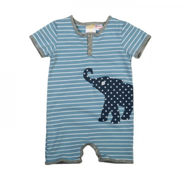 #ElephantRomperBlue Perfect for Gifting this sweet romper with its elephant print is sure to pleased. For more detail visit @  https://goo.gl/laTq0G #BabyProductsOnline #KidsClothing