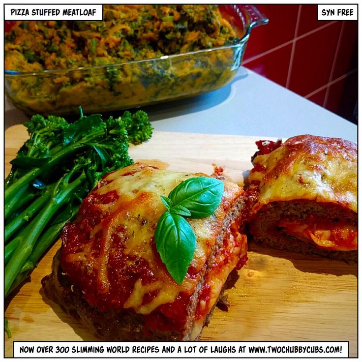Please like and share! This pizza stuffed meatloaf combines all the tasty bits from a pizza and puts it inside a meatloaf, creating a syn-free alternative to burgers and pizza! Remember, at www.twochubbycubs.com we post a new Slimming World recipe nearly every day. Our aim is good food, low in syns and served with enough laughs to make this dieting business worthwhile. Please share our recipes far and wide! We've also got a facebook group at www.facebook.com/twochubbycubs - enjoy!