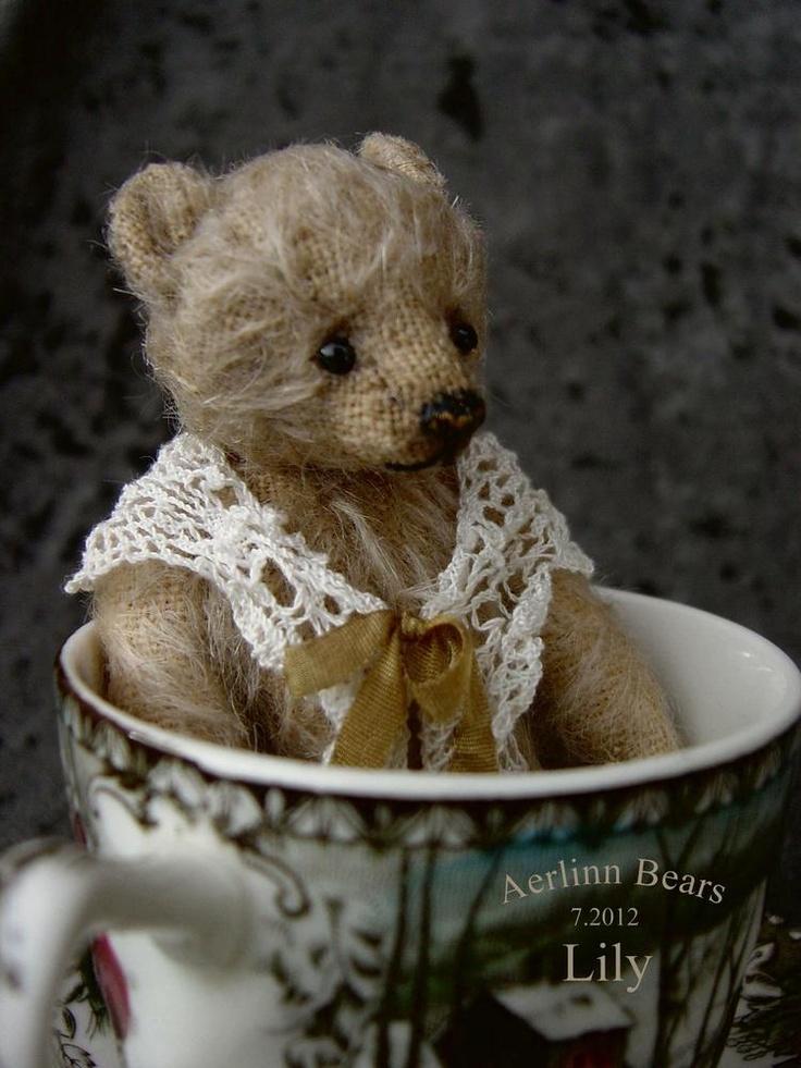 Lily, Miniature Mohair Tea Cup Artist Bear from Aerlinn Bears. Available for adoption.   aerlinnbears.bigcartel.com