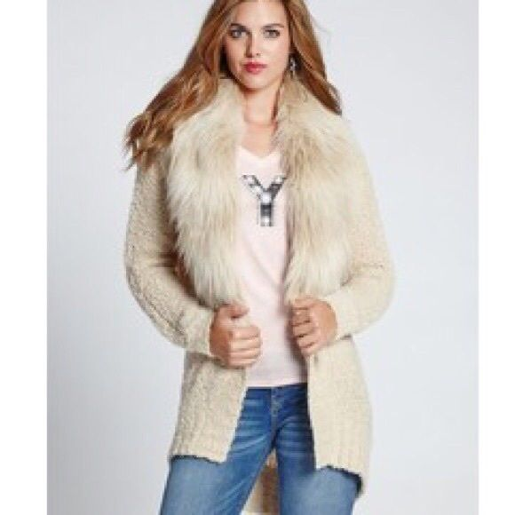Gorgeous faux fur Guess cardigan size xxs Cream color stretchable cardigan, so warm and fuzzy looking and so cute with any outfit dress up or down! Only worn once, brand new condition. Guess Sweaters Cardigans