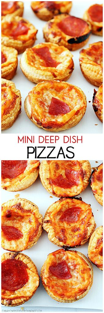 Mini Deep Dish Pizzas | Recipe | Deep dish, Pizza appetizers and Movie ...