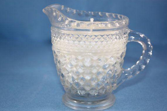 VINTAGE CUT GLASS Diamond Pattern Creamer by HappyAccidentCandles, $12.00