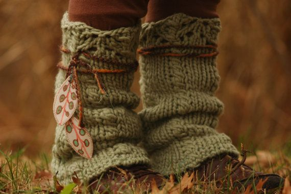 Reserved for Stacia - Womens Wool Legwarmers Upcycled Feather Leaves Pixie Recycled Yarn Accessories Leg Warmers Sweater