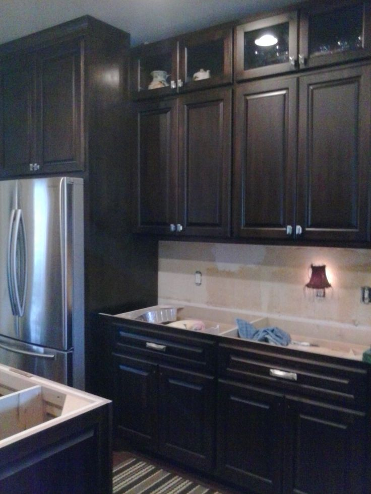 Dark espresso stained maple | Stained kitchen cabinets ...