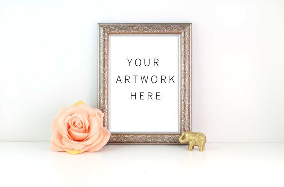 Styled Stock Photography Gold Frame Flower Mock by confettibears