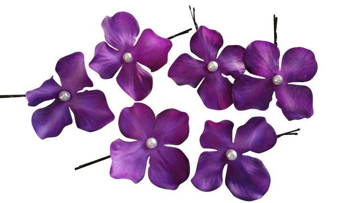 Set of 6 Small Purple Flower Hair Pins