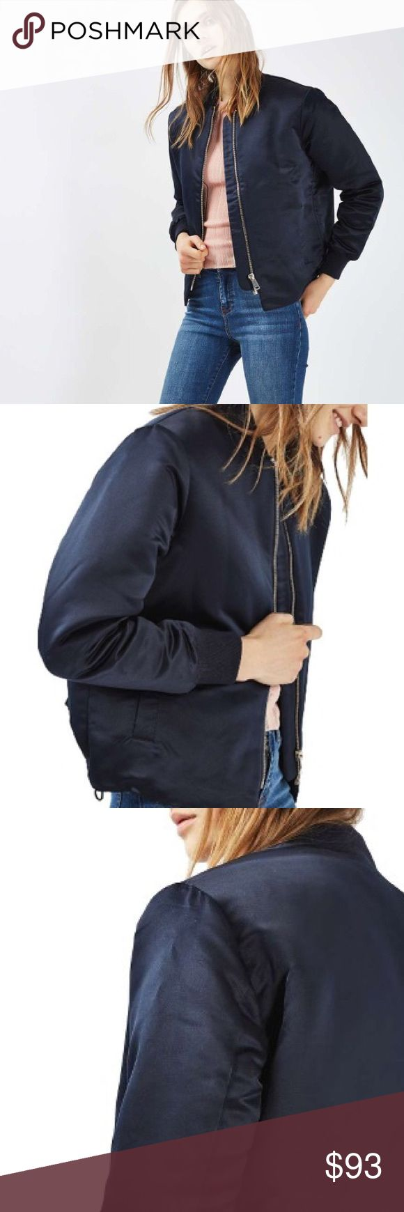 Topshop Sven Bomber Jacket Brand new with tags, shiny fully lined, navy jacket. I love offers! Topshop Jackets & Coats Puffers