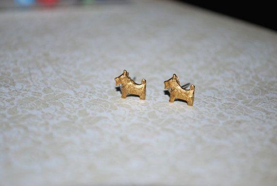 Dog Earrings  Tiny Dog Earrings Schnauzer Scottie by Ear2There