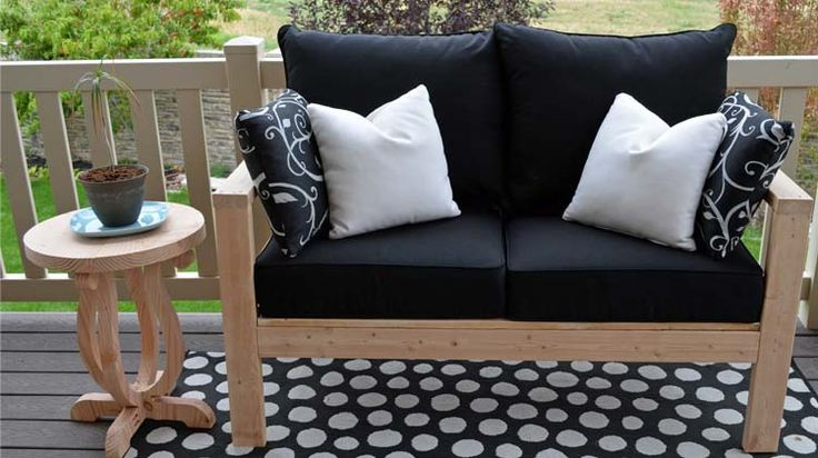 outdoor love seat and chair from 2x4's