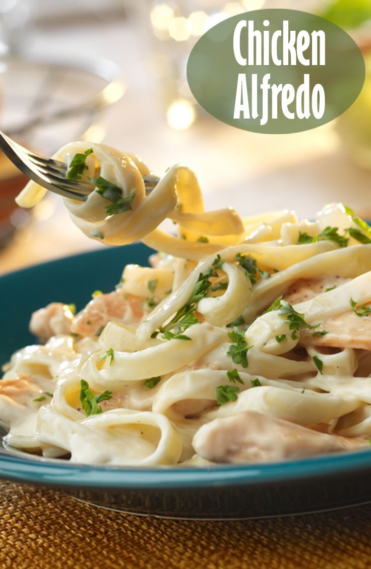 Chicken Alfredo Recipe - Seasoned, sautéed boneless chicken breast strips and fettuccine are bathed in a savory garlic and Parmesan Alfredo sauce. The result is a mouth-watering meal that can't be beat!