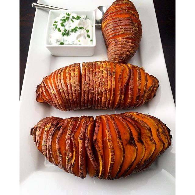 Sweet Potato Hasselbacks. Tonight we enjoyed grilled NY striploins with peppers, mushrooms & onions, along with these sweet potato hasselbacks.