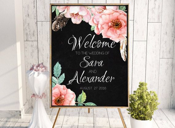 Printable welcome wedding sign. Chalkboard by PrintableMemoriesCo