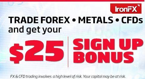IRONFX Sign Up Bonus 25 USD