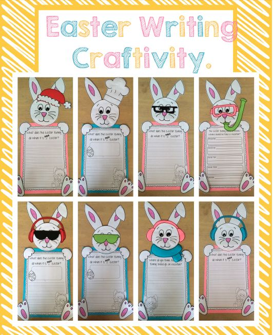 """Easter Writing Craft. """"What does the Easter Bunny do when it is not Easter?"""" """"The Easter Bunny needs a break! Where should he go on vacation?"""""""