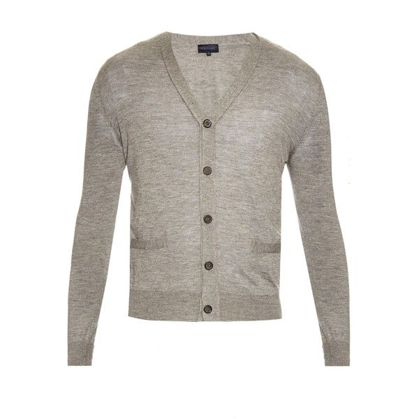 Lanvin Long-sleeved cashmere cardigan (115.320 HUF) via Polyvore featuring men's fashion, men's clothing, men's sweaters, light grey, mens v neck cardigan sweater, mens cashmere v neck sweater, mens cashmere cardigan sweaters, mens v neck sweater and mens cashmere sweaters