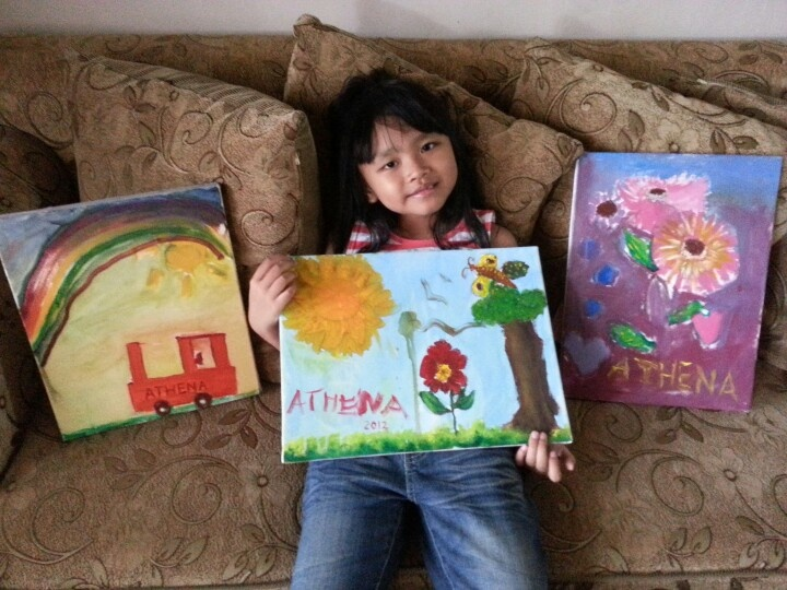 Athena oil painting during holiday at grandma's 2012