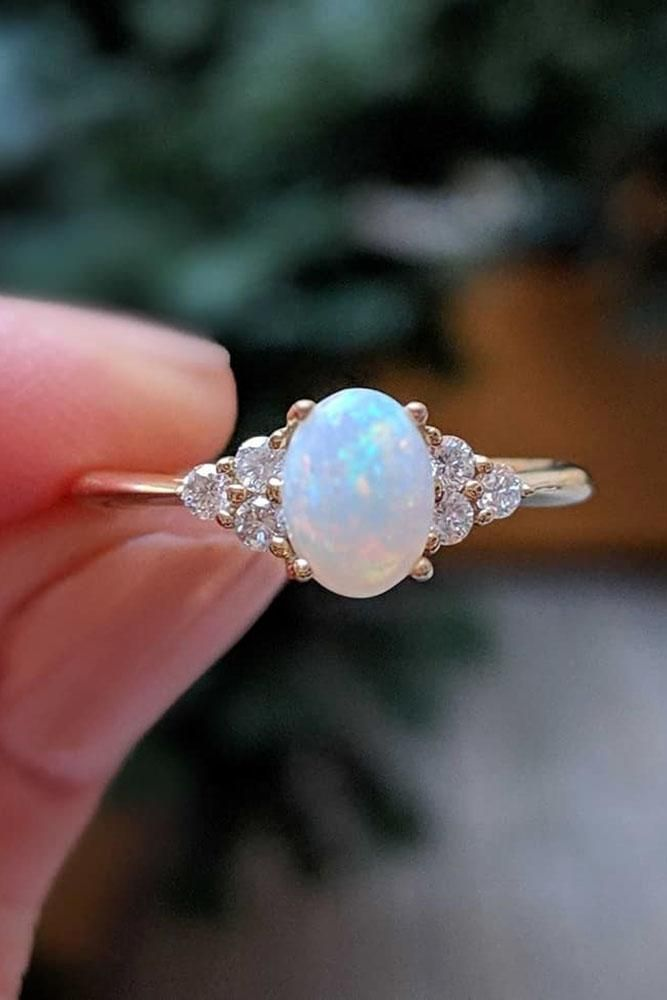 colored engagement rings opal engagement rings rose gold engagement rings unique…