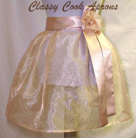 Half Apron Sheer Almond Sparkle Organza with by ClassyCookAprons, $29.50