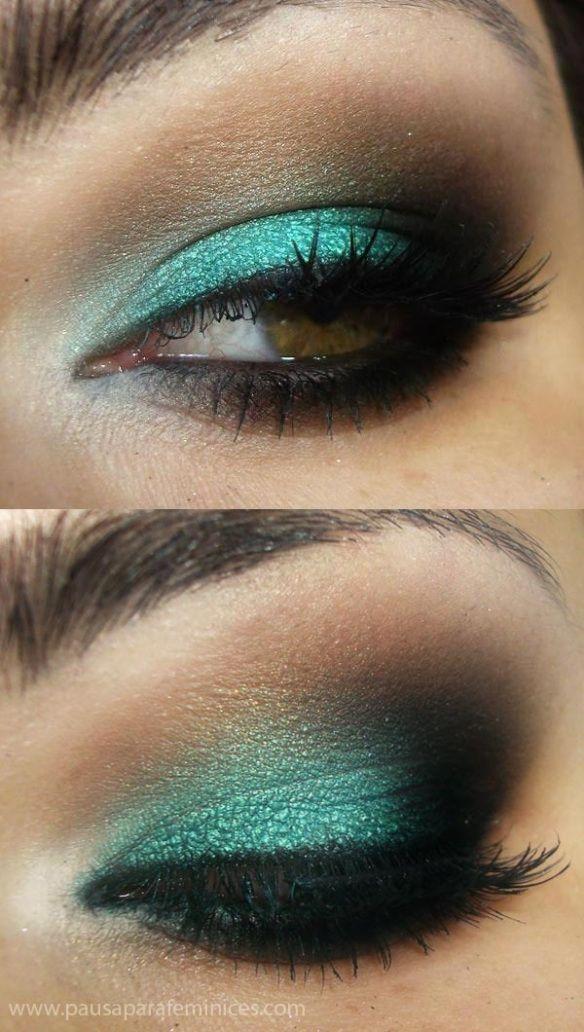 Maquillaje de ojo en color verde