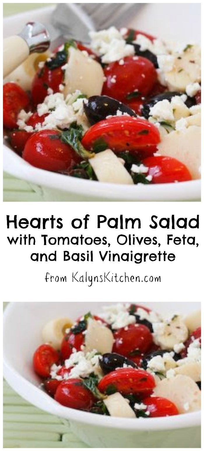 This Hearts of Palm Salad with Tomatoes, Olives, Feta, and Basil Vinaigrette is perfect for a late-summer party! [from KalynsKitchen.com] #LaborDay