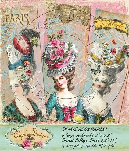 MARIE BOOKMARKS, Digital Collage Sheet, in 300 pdi, printable PDF file