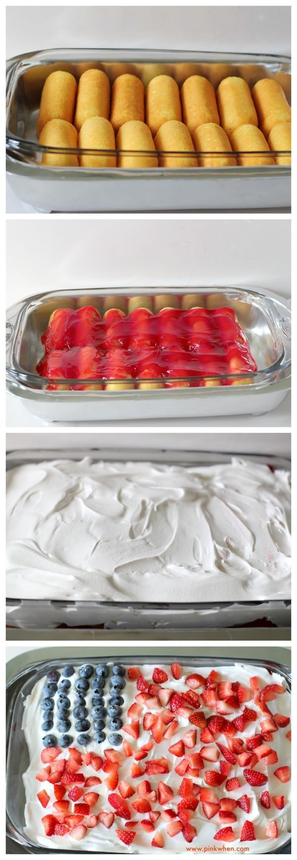 NO BAKE Strawberry-Blueberry Patriotic Cloud Cake with only 4 Ingredients - LESS THAN 10 Minutes. Perfect Memorial Day Dessert.