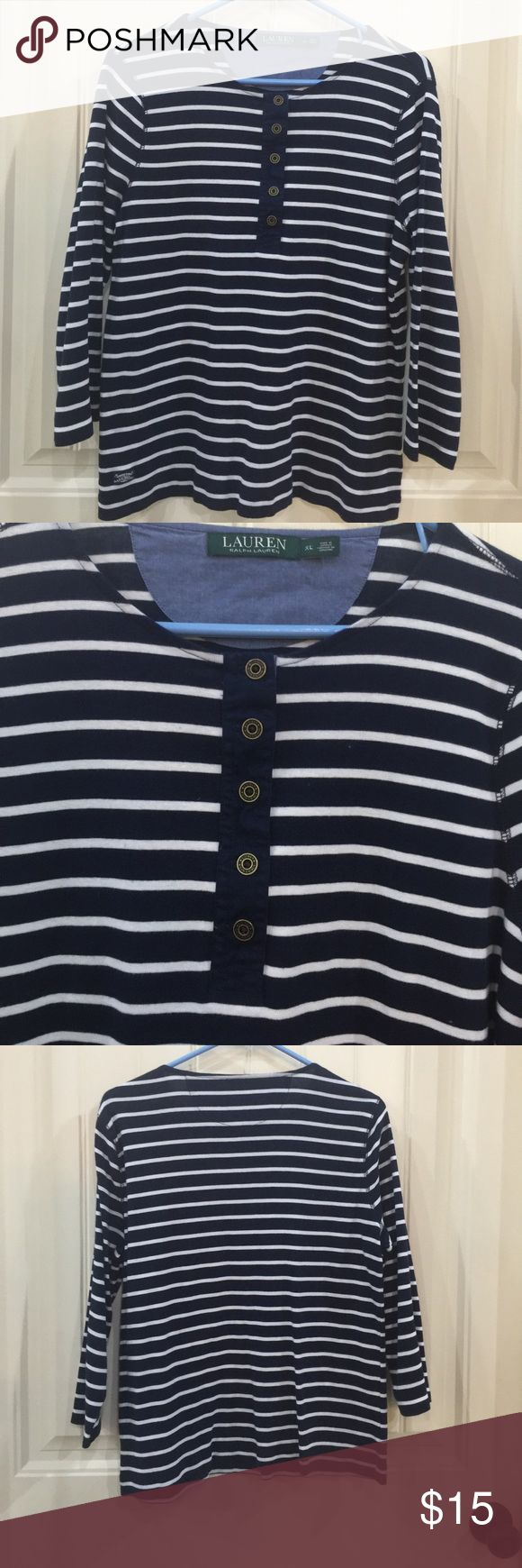 Ralph Lauren Nautical Blouse Ralph Lauren Navy and White Nautical Blouse, 3/4 Sleeve, great condition! Ralph Lauren Tops Blouses
