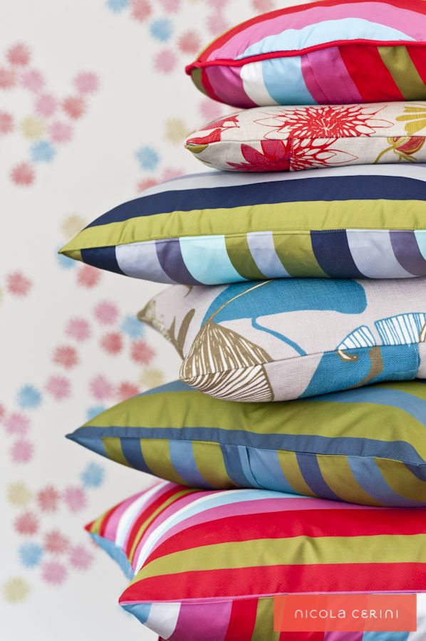Bright assortment of cushions www.nicolacerini.com