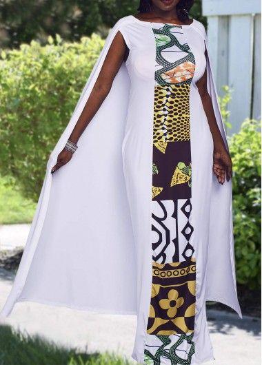 White Cape Evening Maxi Dress Ankara Gown