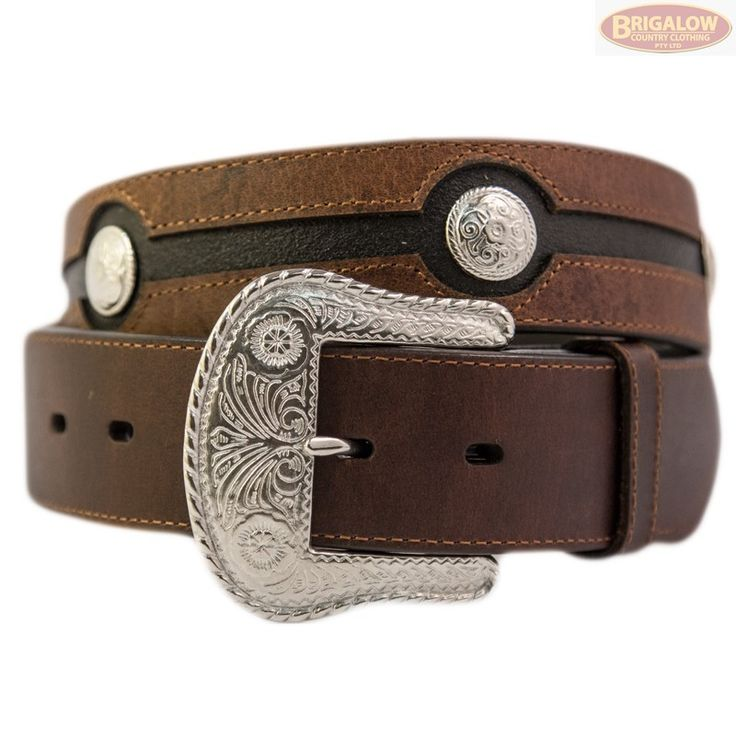Chocolate & Black Leather w/ Silver Conchos - 306 | Mens Belts | Mens | Brigalow Country Clothing This simple yet elegant Brigalow belt features distressed chocolate leather with several small silver floral conchos. The black leather base is patterned to further highlight the conchos as well as the removable light-weight buckle. Looks great at the stockyard or the stock-market!