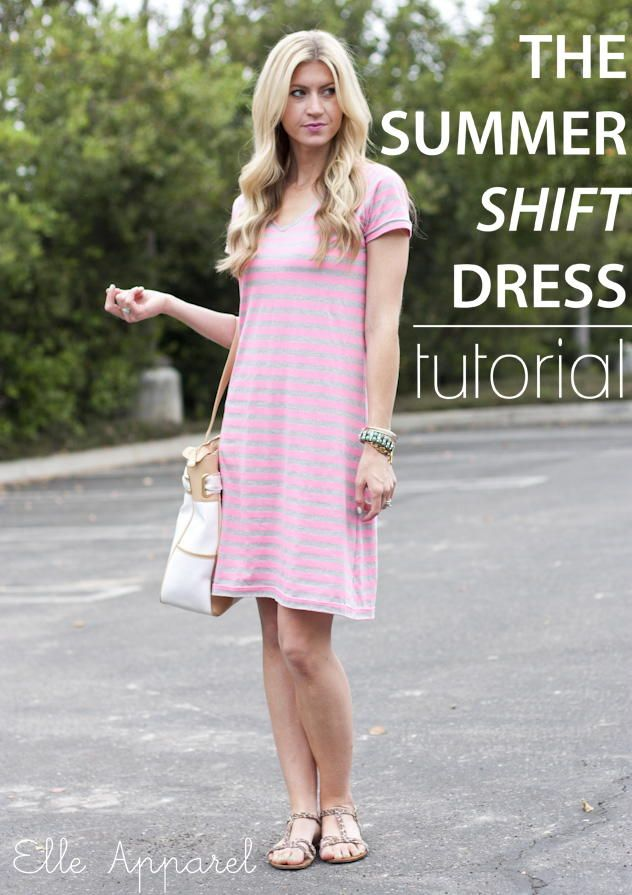 Put a casual spin on dresses with the Summer Shift DIY Dress. For this dress tutorial, you'll start out with a basic t-shirt to trace it for the shape of the sewing pattern. It's a very easy sewing tutorial.