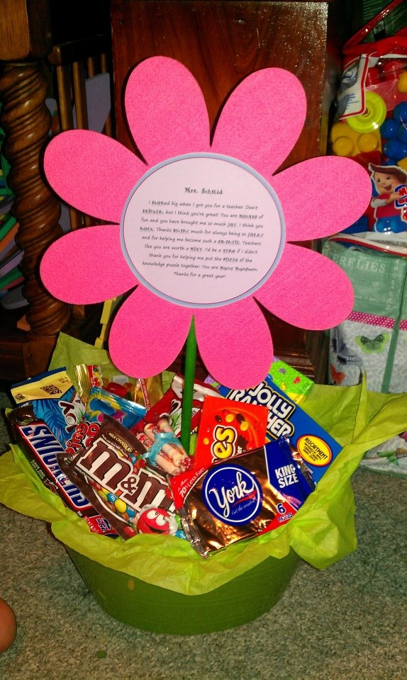 my daughter made this for her teacher for teacher appreciation week. We printed the candy bar poem, glued it to a hard foam flower and filled the basket with all the candy from the poem.
