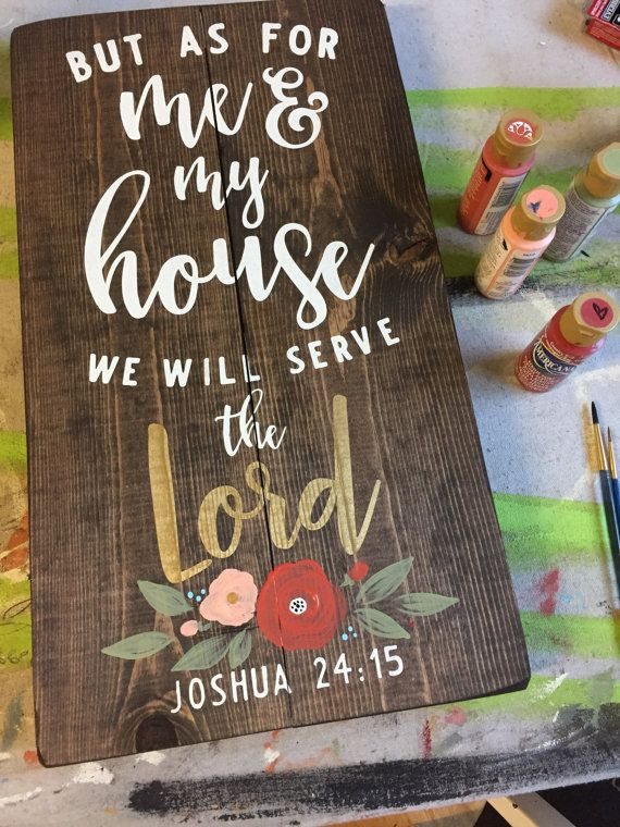 """But As For Me And My House - Rustic Wooden Pallet Sign (11""""x20"""")"""