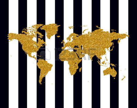 КАРТА МИРА: Векторная иллюстрация золотой сверкающей карты мира на черные полосы Иллюстрация