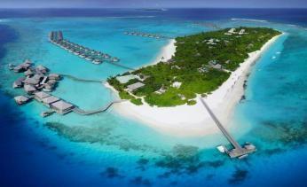 Udsigt over Six Senses Laamu på Maldiverne