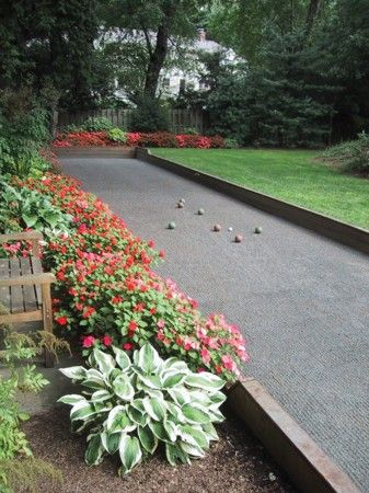 Regulation bocce courts are 60 feet long and 10 feet wide, with curbs to prevent the ball from bounding out of court. Wendy Lindquist, a garden designer in Bridgeport, Conn., had so many requests for bocce courts among her clients that she created a side business, Bella Bocce, to accommodate them. Courtesy photo | Universal Uclick