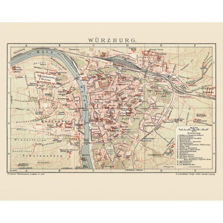 Würzburg: old city poster printed on a handmade paper.  #map, #antiquemap, #vintagemap, #oldmap #historicalmap, #mapreproduction #mapreproductions #oldmaps, #vintagemaps, #antiquemaps, #historicalmaps #handmadepaper #maps, #mapdecor, #traveldecor #walldecor, #mapgifts, #würzburg
