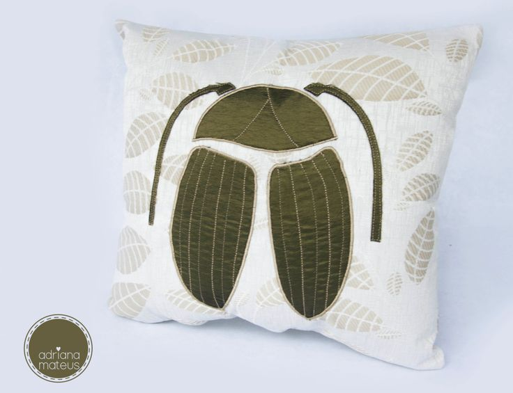 pillow beetle, decorative, fabric, home, handmade by ADRIANAMATEUS on Etsy
