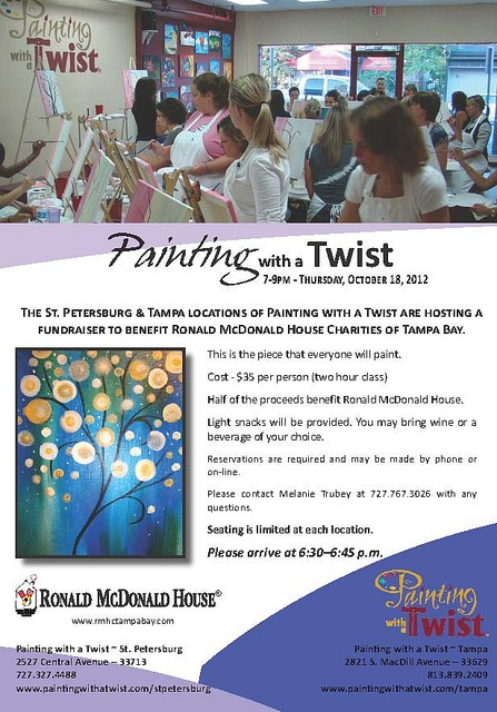 Painting with a Twist Fundraising, Ronald mcdonald house