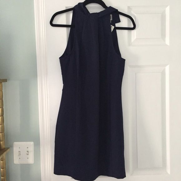 CO Navy Blue Crepe High Neck Dress Perfect condition. Buttons on back of neck. Low cut in back Dresses
